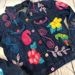 •Vintage• 90's FUNKY Patchwork Jean Jacket Sz XL